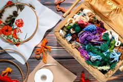 Needlework accessories collection - canvas, hoop, thread mouline. Needlework supplies. Embroidery and sewing accessories including canvas, hoops overhead Stock Photos
