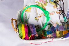 Needlework accessories collection - canvas, hoop, thread mouline. Top view. Copy paste Stock Photo