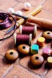 Needlework and beads royalty free stock image