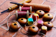 Needlework and beads stock photo