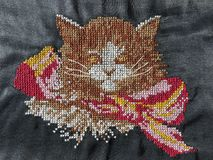 Needlework - cat Stock Photo