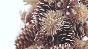 Christmas tree of cones. Needlework Christmas tree of pine cones and balls stock video footage