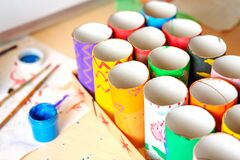Needlework Coloring Tubes For Further Crafts In Children`s Art Royalty Free Stock Image