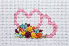 Needlework, cross-stitch Stock Images