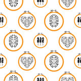 Needlework design on embroidery hoops pattern. Stock Photo