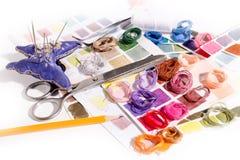 needlework embroidery Cores do fósforo da linha fotografia de stock royalty free