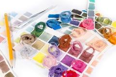 needlework embroidery Cores do fósforo da linha imagens de stock royalty free