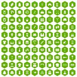 100 needlework icons hexagon green. 100 needlework icons set in green hexagon isolated vector illustration Royalty Free Stock Image