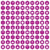 100 needlework icons hexagon violet. 100 needlework icons set in violet hexagon isolated vector illustration royalty free illustration