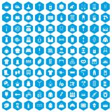 100 needlework icons set blue. 100 needlework icons set in blue hexagon isolated vector illustration Royalty Free Illustration