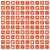 100 needlework icons set grunge orange. 100 needlework icons set in grunge style orange color isolated on white background vector illustration vector illustration