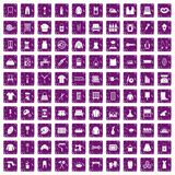 100 needlework icons set grunge purple Stock Photos