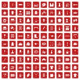 100 needlework icons set grunge red. 100 needlework icons set in grunge style red color isolated on white background vector illustration Royalty Free Stock Photos