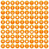 100 needlework icons set orange. 100 needlework icons set in orange circle isolated on white vector illustration royalty free illustration
