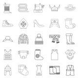 Needlework icons set, outline style. Needlework icons set. Outline set of 25 needlework vector icons for web isolated on white background Royalty Free Stock Photo