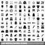 100 needlework icons set, simple style. 100 needlework icons set in simple style for any design vector illustration Stock Image