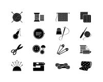 Needlework icons for sewing, knitting, needlework. Set of needlework icons. Black silhouette for sewing, knitting, needlework, pattern. Vector illustration Stock Photography