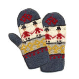 Needlework. Knitted Mittens Stock Image