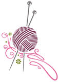 Needlework, knitting. Colorful needlework and knitting illustration Stock Images