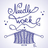Needlework knitting. Illustration silhouette knitting a word needlework of the thread Royalty Free Stock Photo