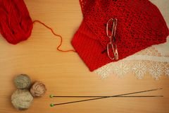 Needlework, knitting needles and crochet, jacket of terracotta thread Stock Photography