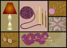 Needlework knitting. Set, lamp an glasses on wooden table Royalty Free Stock Photo
