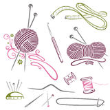 Needlework, knitting, wool, crochet. Colorful needlework and knitting vector set Stock Photos