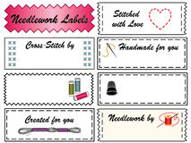 Needlework Labels. Collection of 8 needlework labels. Copy space to customize for embroidery, needlepoint, applique, bargello, brocade, crewel, cross-stitch Royalty Free Stock Photo