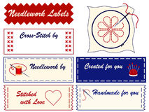Needlework Labels. Personalize your project. Copy space to add your name to labels for embroidery, needlepoint, applique, bargello, brocade, crewel, cross-stitch Stock Photo