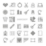 Needlework line icons set. Cross stitch and fancywork supplies Stock Image