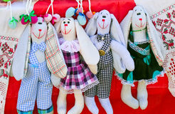 Needlework, original toys in the form of amusing dolls Stock Images