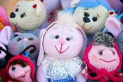 Needlework, original toys in the form of amusing dolls Royalty Free Stock Image