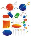 Needlework set. Isolate colour needlework accessories set Stock Images