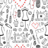 Needlework and sewing equipment seamless pattern. Vector hand drawn craft supplies print Stock Image