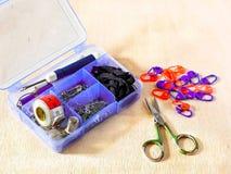Needlework kit, scissors, hooks Stock Photography
