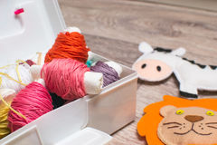 Needlework. Sewing kits with colored thread and handmade soft toys. Sewing kit with colored thread and handmade soft toy tiger, zebra, lion Stock Photos