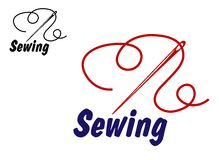Needlework or sewing symbol. With needle and thread for sewing, tailoring or dressmaking design Royalty Free Stock Photos