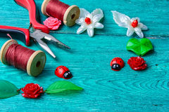 Needlework in spring style Royalty Free Stock Image