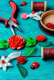 Needlework in spring style Royalty Free Stock Images