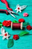 Needlework in spring style Stock Photos