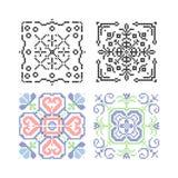 Needlework vector. Needlework floral tiles vector illustration Stock Image