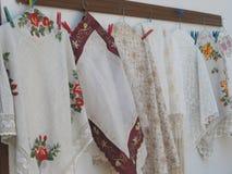 Needleworks hanging. Beautiful needleworks in Lefkara village, Cyprus Royalty Free Stock Photography