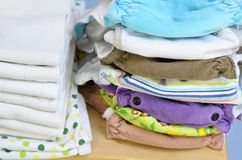 Needs for babies: cloth diapers, liners and changing pad Stock Photo