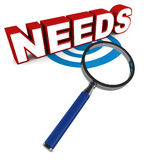 Needs. Under scanner, a magnifying glass scanning or determining  word over white background, concept of finding the real  over wasteful wants Royalty Free Stock Image