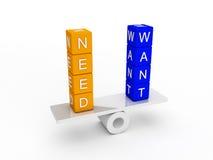 Needs and wants balance Royalty Free Stock Image