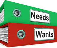 Needs Wants Folders Show Requirement And Desire Stock Image
