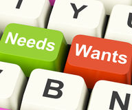 Needs Wants Keys Show Necessities And Wishes Stock Image