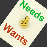 Needs Wants Lever Shows Requirements And Luxuries Royalty Free Stock Photos