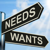 Needs Wants Signpost Means Necessity And Desire. Needs Wants Signpost Meaning Necessity And Desire stock illustration