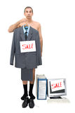 Needy. The requiring businessman sells technics of office and the him clothes Stock Images